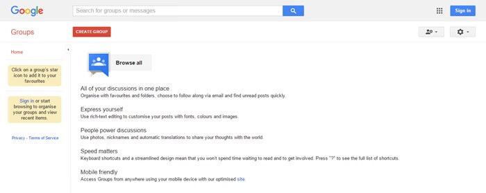 مجموعه انجمن های وب سایت گوگل