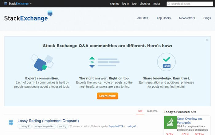 وب سایت stackexchange