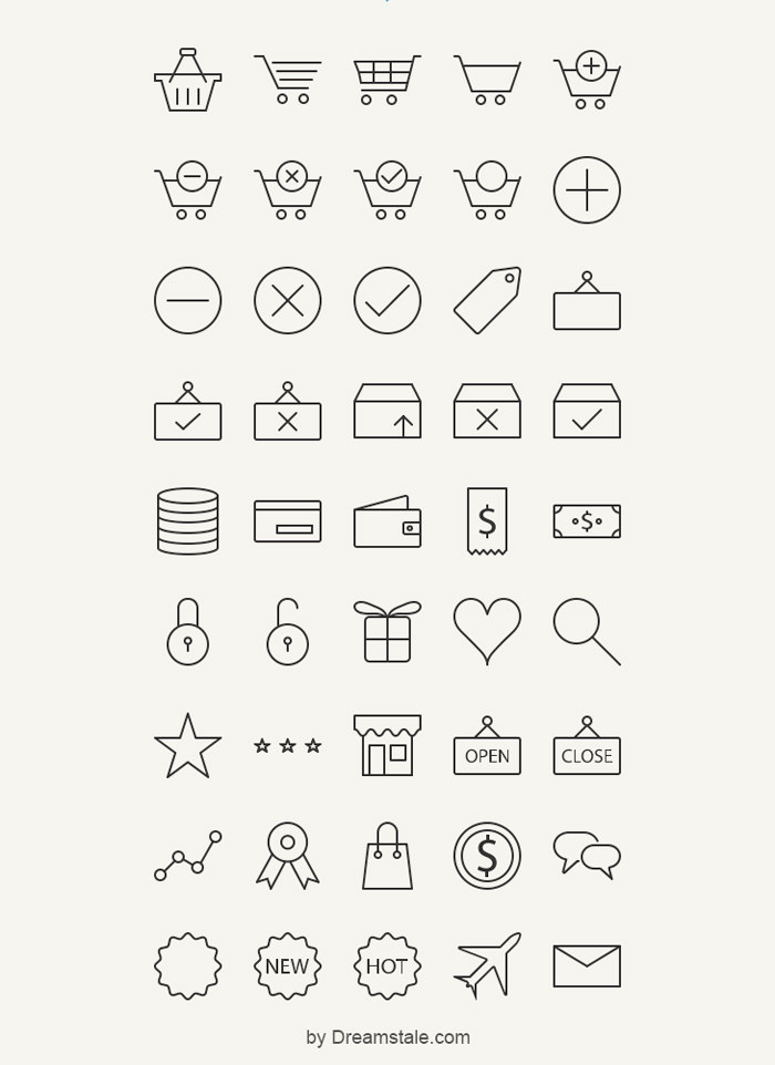45-outline-e-commerce-icons