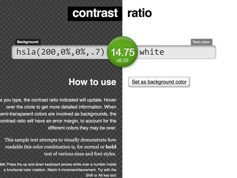 ابزار contrast ratio checker