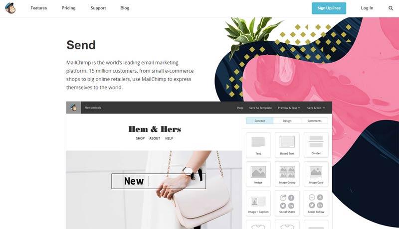 وبسایت MailChimp