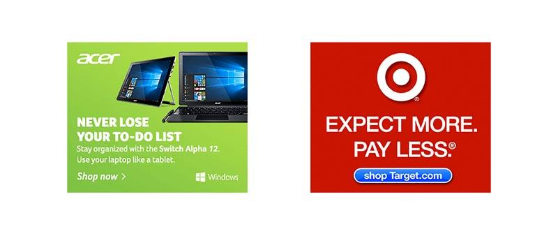 بنر تبلیغاتی شرکت Acer و target