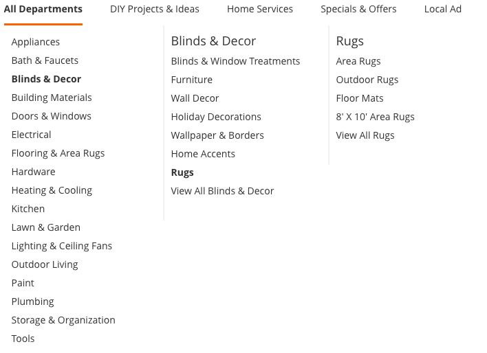 ساختار منو اصلی وبسایت
