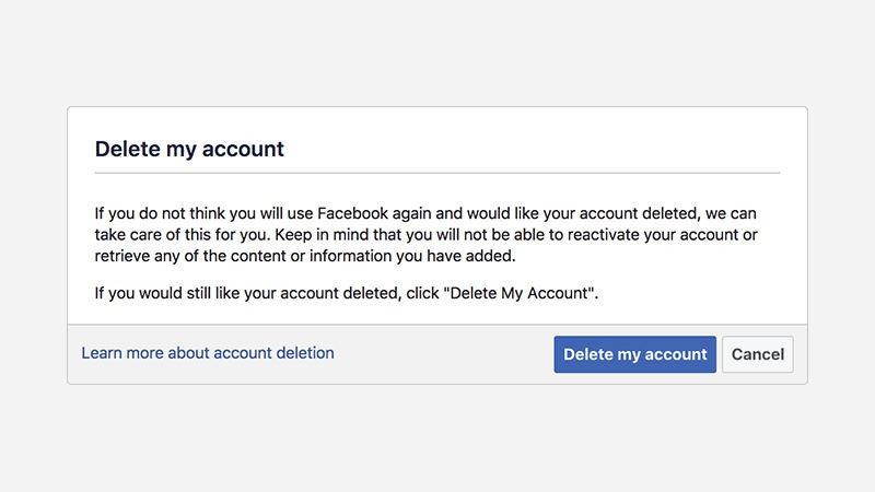 پاک کردن حساب کاربری فیسبوک