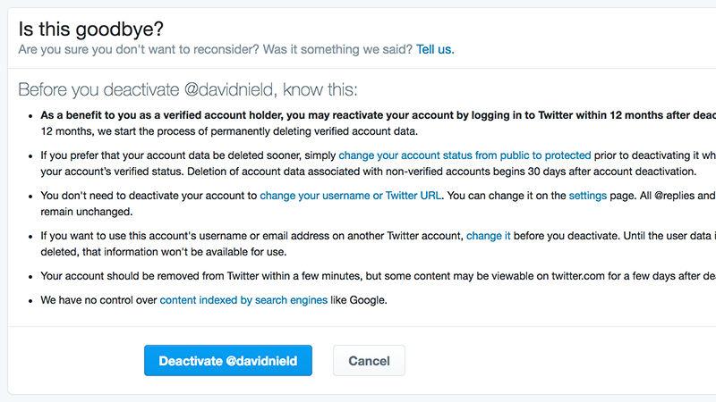 پاک کردن حساب کاربری توییتر