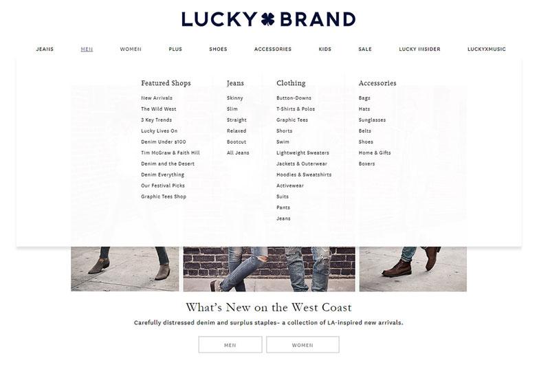 مگا منوی سایت luckybrand