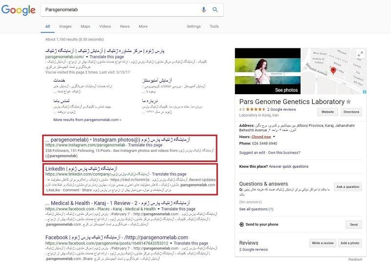 رتبه شبکه های اجتماعی در گوگل