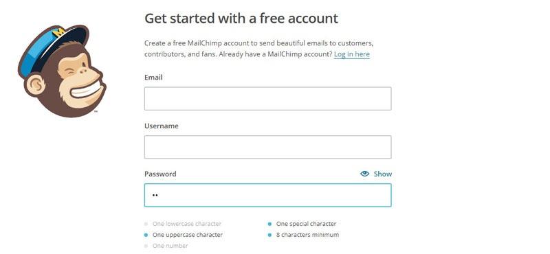 رابط کاربری سایت mailchimp