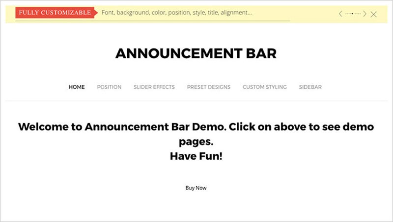 announcement bar