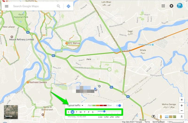 بررسی ترافیک عمومی در گوگل مپ