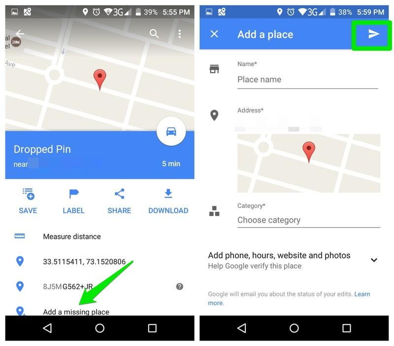 افزودن موقعیت جدید در گوگل مپ