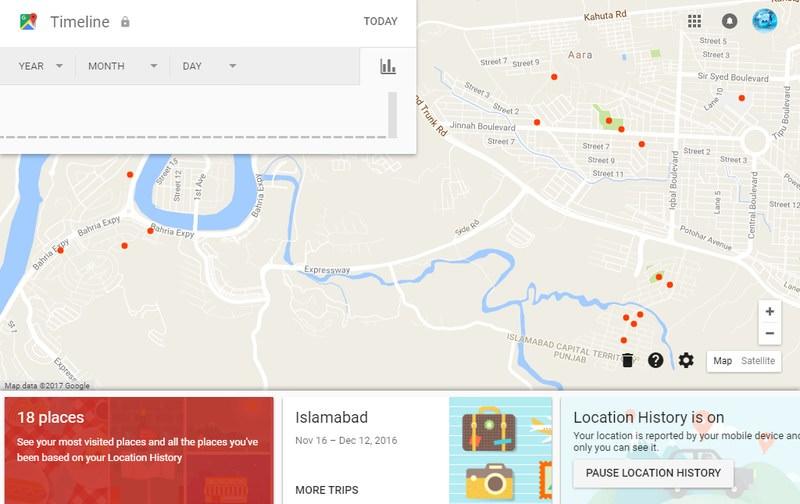 مشاهده تاریخچه گوگل مپ