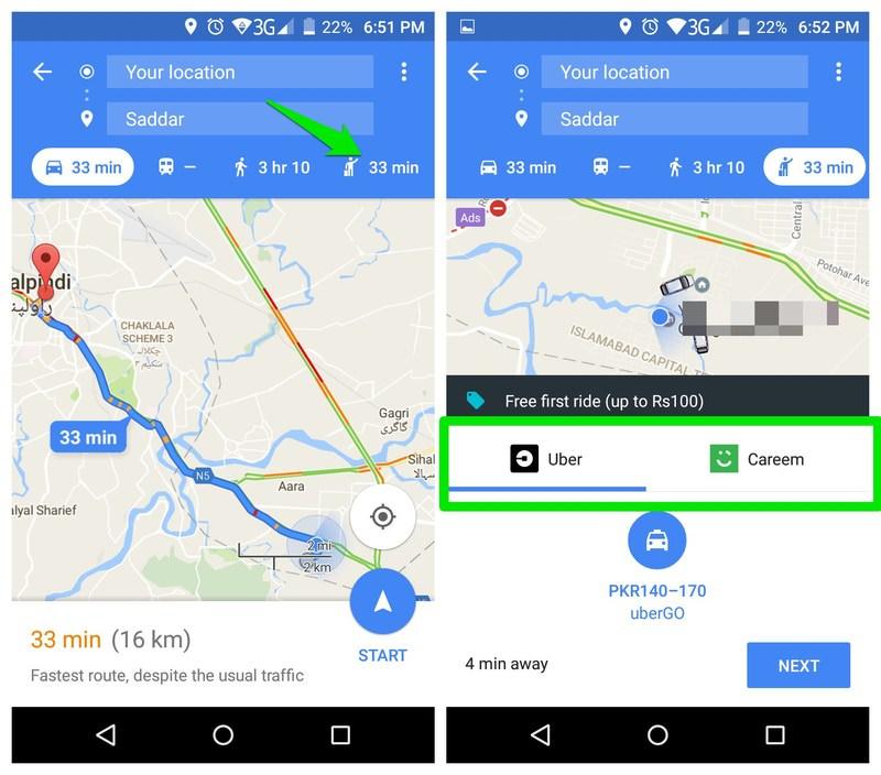 تاکسی گرفتن در گوگل مپ
