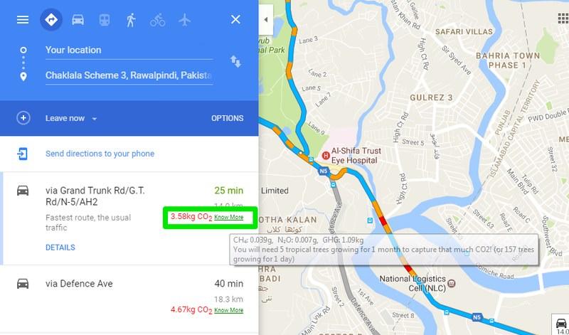 بررسی میزان دی اکسید کربن در گوگل مپ