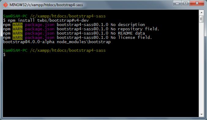 نصب Bootstrap 4 با nmp