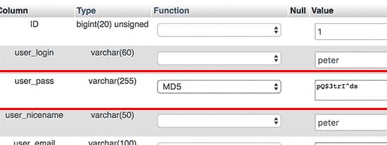 تغییر رمز عبور پنل مدیریت وردپرس در phpmyadmin