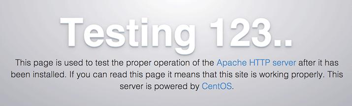 صفحه پیشفرض آپاچی در سیستمعامل CentOS7