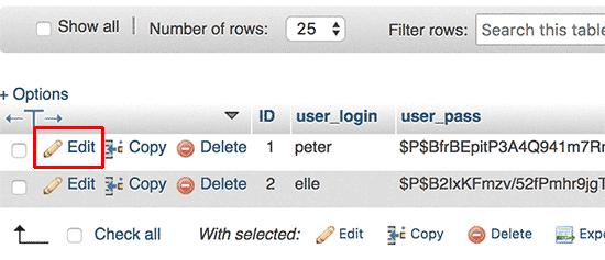 edit کاربران در phpmyadmin