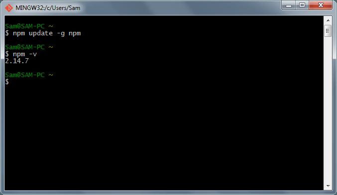 بررسی نصب node.js