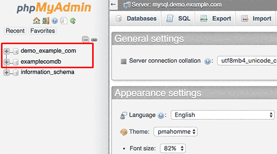 انتخاب پایگاه داده در phpmyadmin