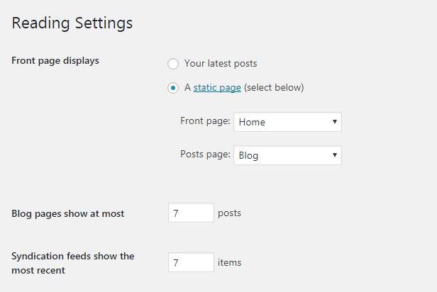 تنظیمات صفحه وردپرس