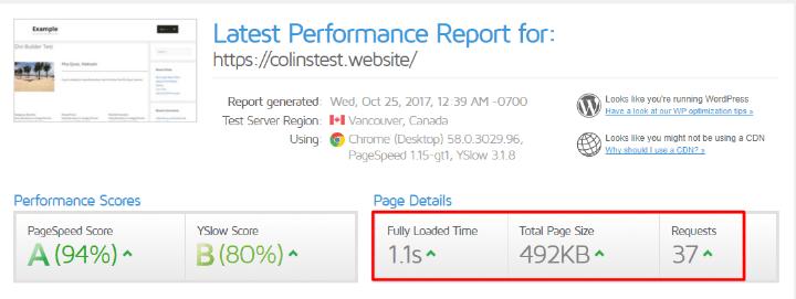 بررسی سرعت وبسایت با پلاگین WP Rocket در gtmetrix