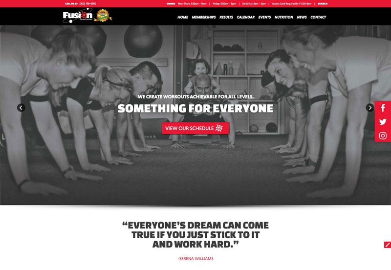وب سایت Fusion Fitness Center