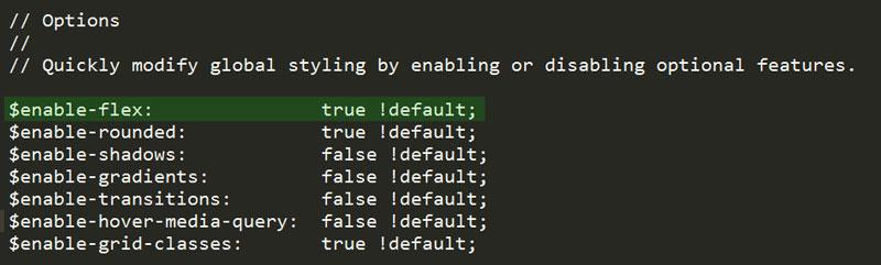 فعل سازی flexbox از طریق variable.scss_