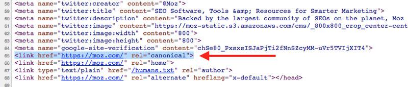 نمونه کد تگ کنونیکال