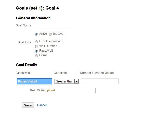 اهداف صفحات/بازدید (Pages/Visit Goals)