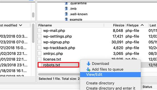 ویرایش فایل robots.txt بهصورت دستی با استفاده از FTP